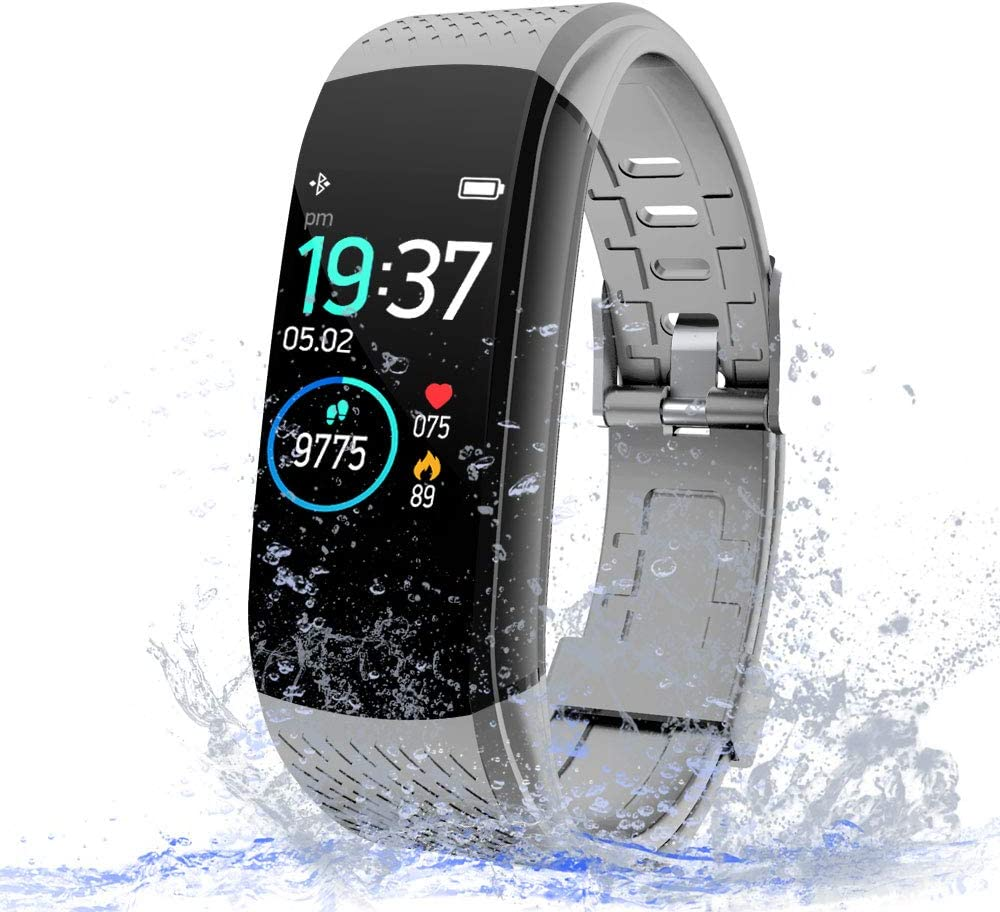 WalkerFit Fitness Tracker with Heart Rate Monitor, Activity Tracker with Sleep Monitor, IP67 Waterproof Pedometer, Gray