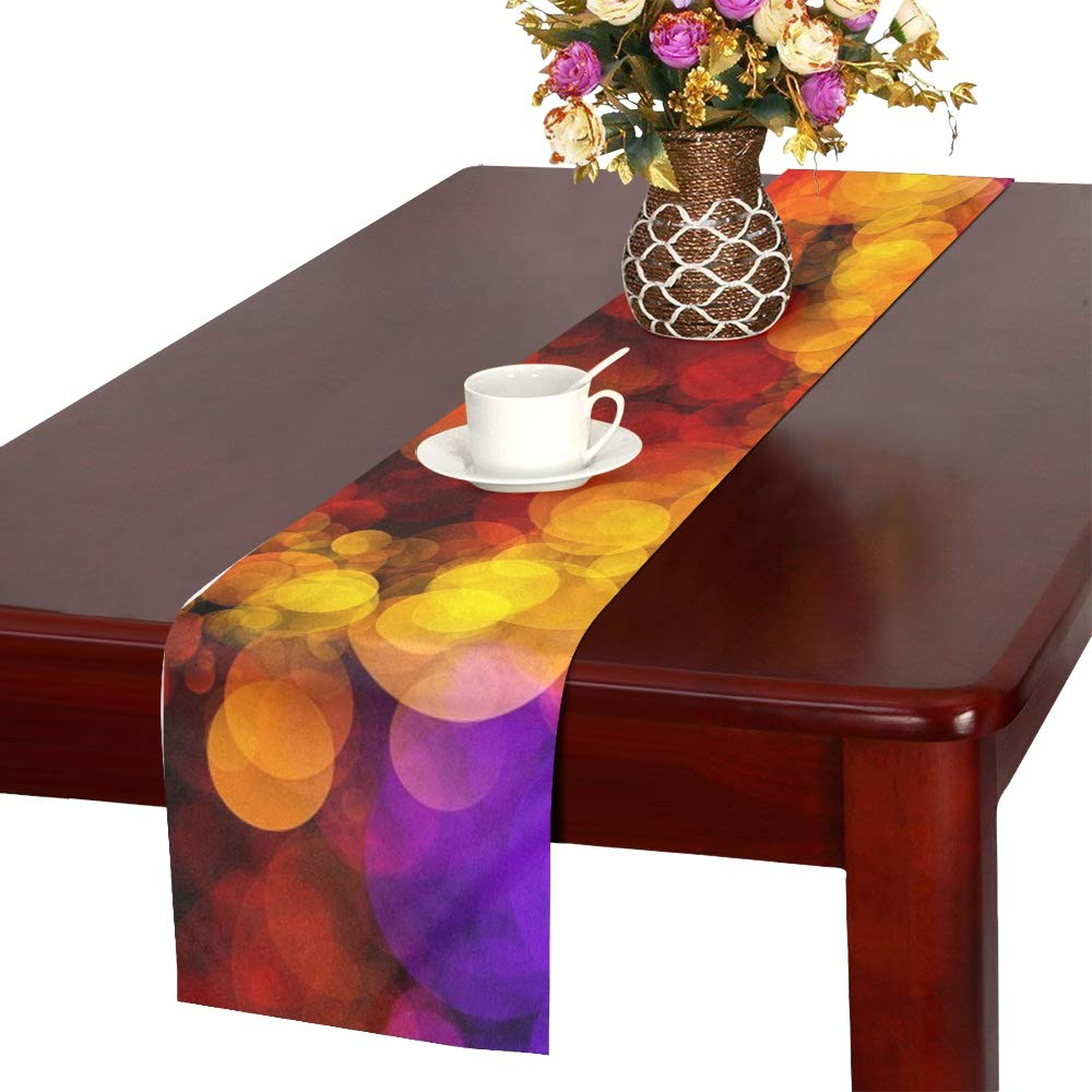 Bokeh Embroidery Dab Color Spray Colorful Pattern Table Runner, Kitchen Dining Table Runner 16 X 72 Inch For Dinner Parties, Events, Decor