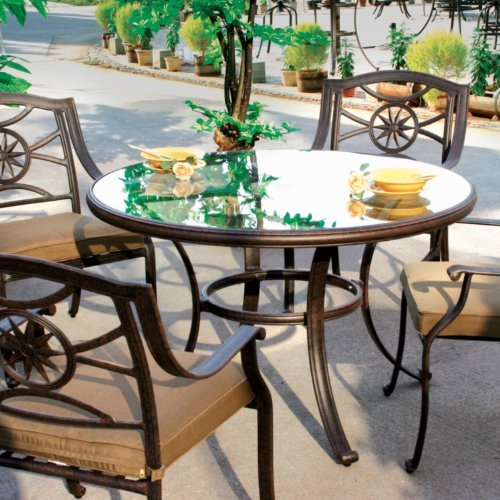 (Darlee Ten Star 5 Piece Cast Aluminum Patio Dining Set with Glass Top Table)