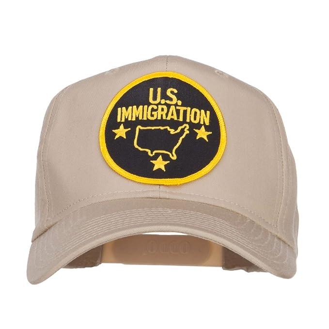 US Immigration Patched High Profile Cap - Khaki OSFM at Amazon Men s ... 5b5bbd705eec