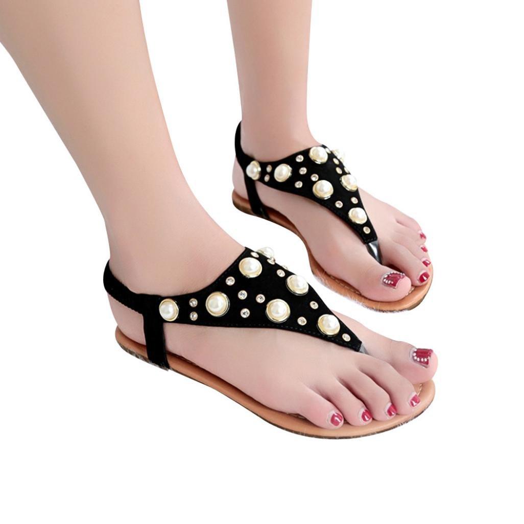 656098ef Amazon.com: Women Summer Flat Sandals, Bohemian Flat Ankle Strap Thong  Sandal Pearls Gladiator Flip Flop Beach Shoes Casual Roman Flats: Clothing