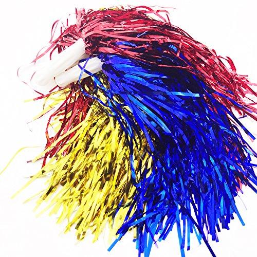 POM POMS PACK OF 2 POMPOM PINK BLUE PURPLE BATONS PARTY FANCY DRESS CHEERLEADER