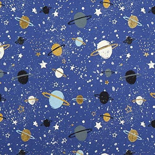 Little Johnny Univers Espace Planètes Jersey Tissu Extensible Enfants Vêtements PJ