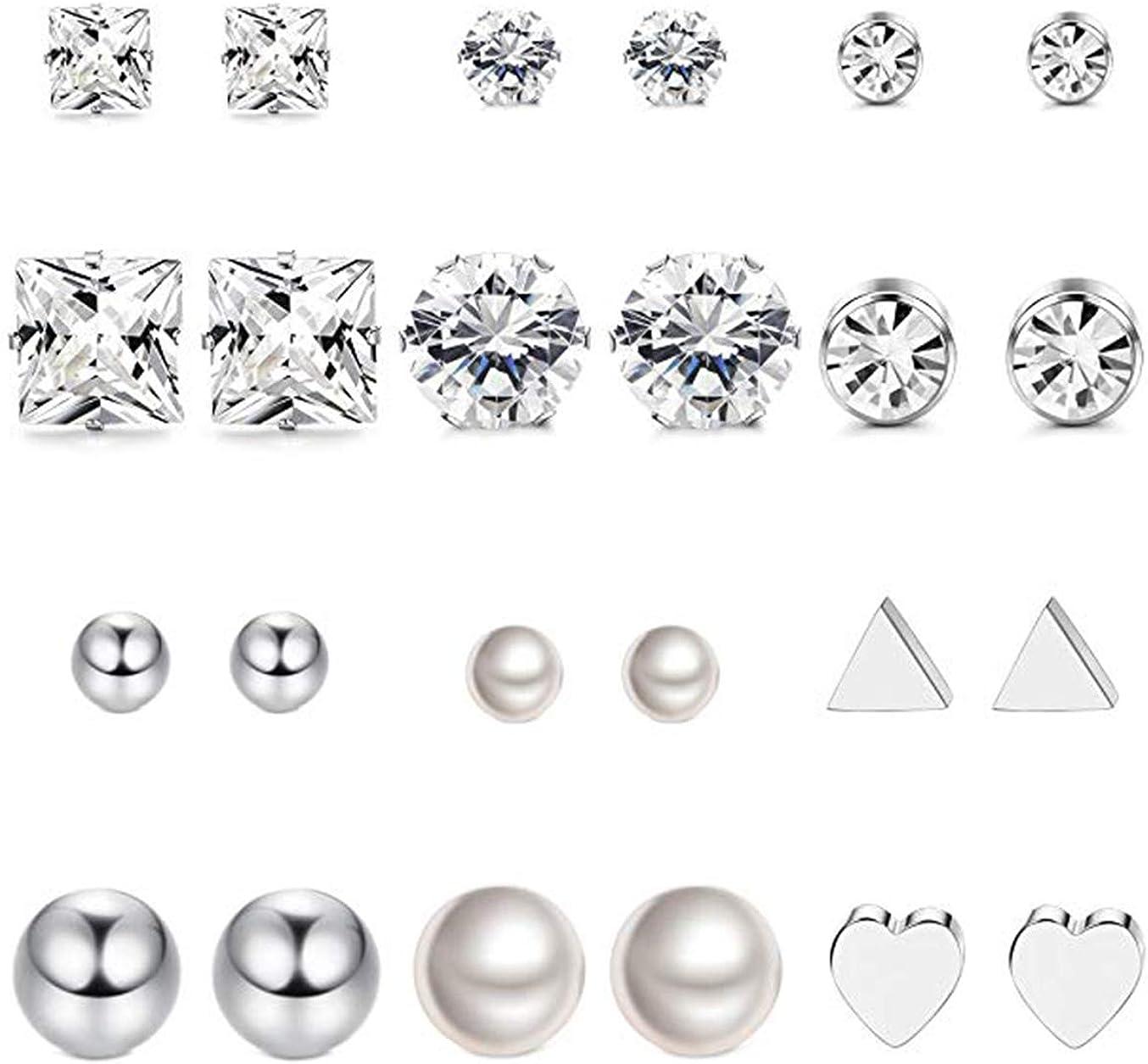 Milacolato 12 pares de aretes de acero inoxidable con aretes para niñas redondas transparentes CZ Stud