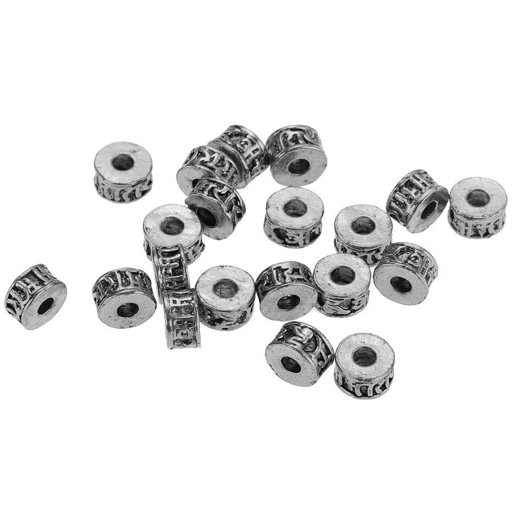 FITYLE 20Pcs Cuentas Espaciadoras De Metal De Estilo Tibetano para Hacer Joyer/ía 6 Plata Antigua 6 mm 11 Mm DIY 7 9