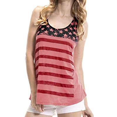 Challyhope Women American Flag Print Workout Yoga Fitness Sports Racerback Tank Tops