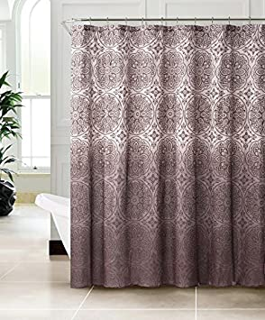 Shower Curtains chocolate brown shower curtains : Fabric Shower Curtain with Ombre Floral Moroccan Pattern Design ...