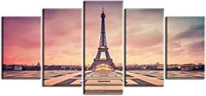 """Paris Picture Canvas Prints for Bedroom, PIY Romantic Dusk Wall Art of France Eiffel Tower Painting, 1"""" Thick Frame, Waterproof Home Decor, Hanging Bracket Mounted Artwork"""