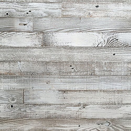 Epic Artifactory Reclaimed Barn Wood Wall Panel- Easy Peel and Stick Application (40 Sq Ft, Whitewashed Barn Wood)