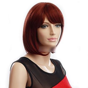 Kurze Glatte Haare Perücke Wein Rote Farbe Wgb3303