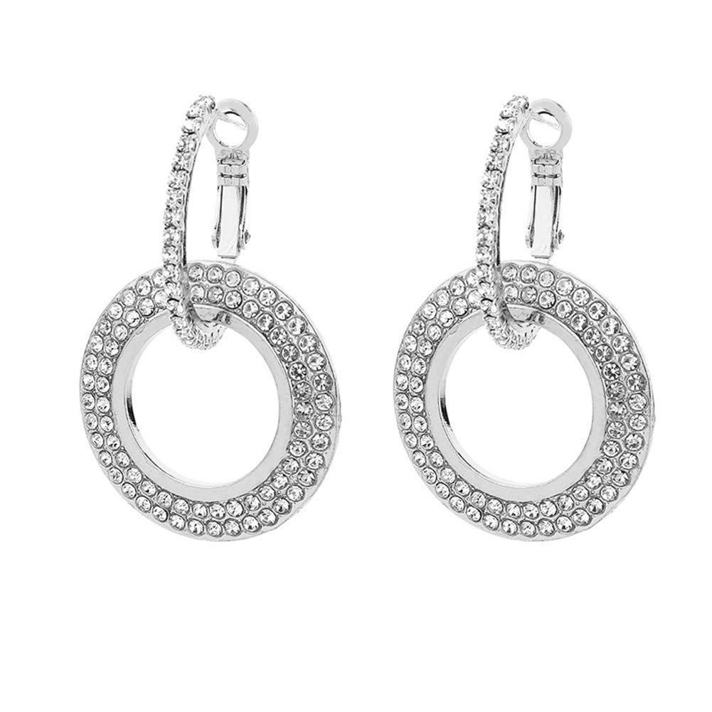 Himpokejg Women's Fashion Rhinestone Double Circle Hoop Earrings Party Jewelry Charm - Silver