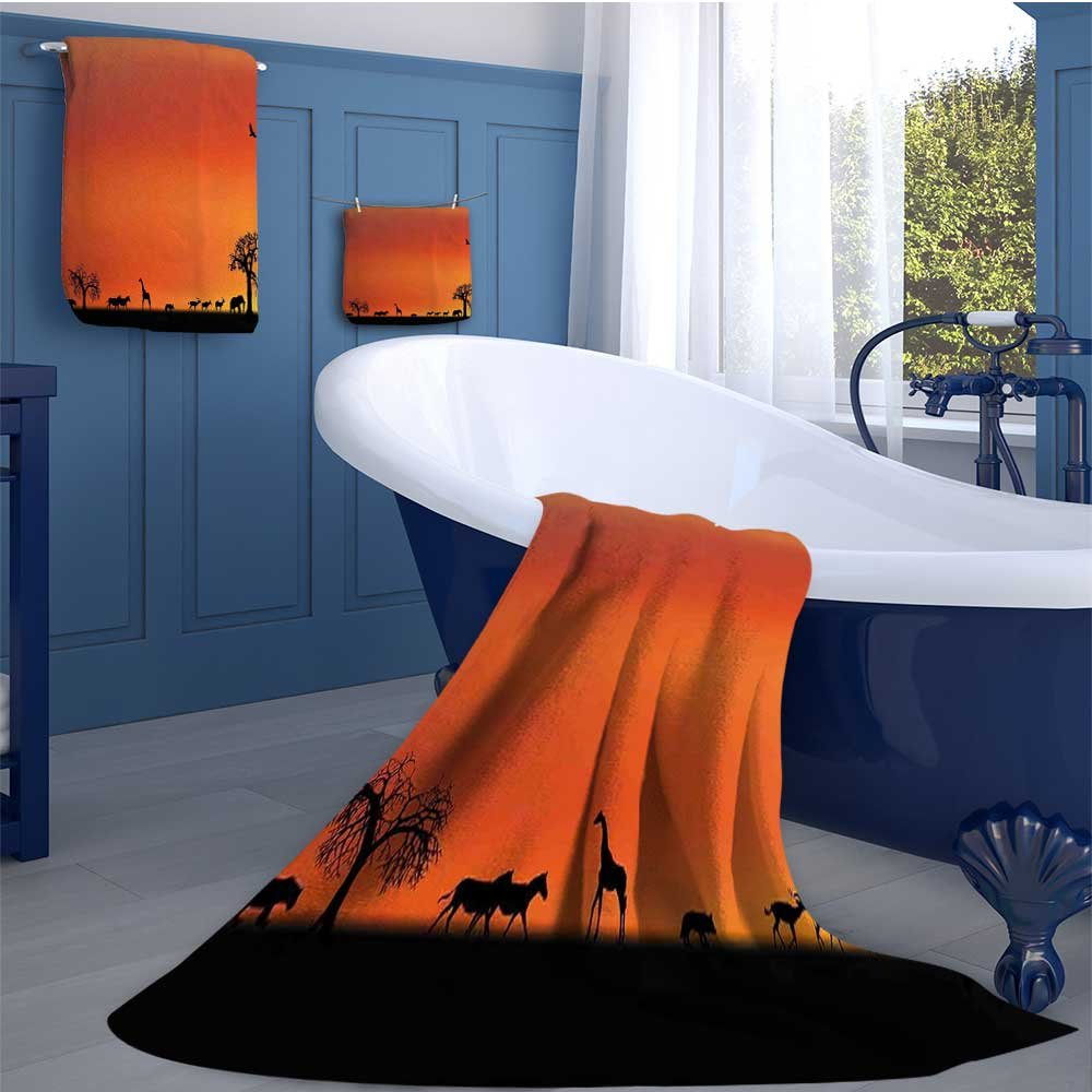 Africa Premium Cotton Extra Large Bath Towel Set Panorama of Safari Animals Gulls Reflections in Background at Sunset Scenery Bathroom hand towels set Burnt Orange Black
