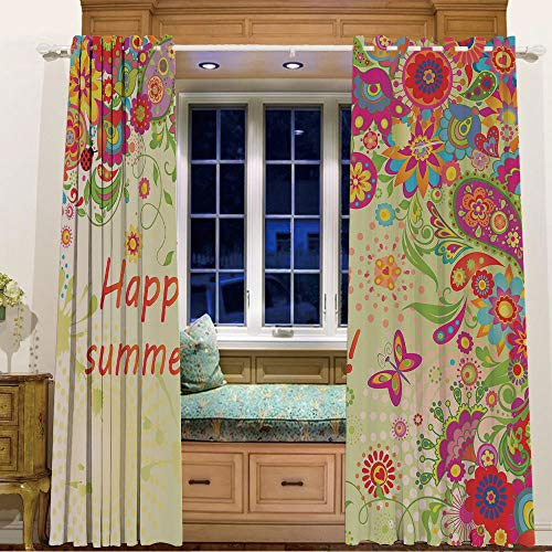 (Printed Blackout Curtains Grommet Thermal for Small Windows 2 Drapes,105