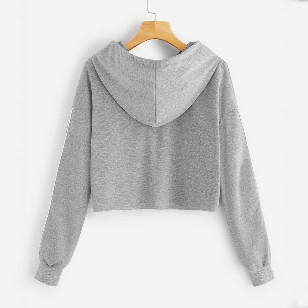 Clearance Sale! Women Teen Girl Cute Cat Cropped Hoodie Long Sleeve Crop Top Sweatshirt