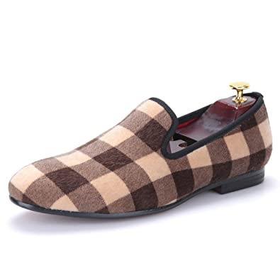 Mixed Color Plaid Pattern Men Velvet Shoes Slip-On Loafer Round Toes Smoking Slipper Fashion Casual Flats