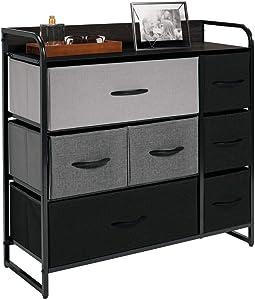 mDesign Dresser Storage Tower - Sturdy Steel Frame, Wood Top & Handles, Easy Pull Fabric Bins - Organizer Unit for Bedroom, Hallway, Entryway, Closets - 7 Drawers - Gray/Black