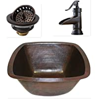 "15"" Square Copper Bar Sink with 3.5"" Strainer Drain and ORB Faucet"