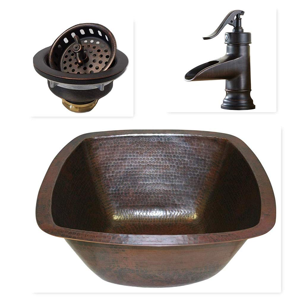 15'' Square Copper Bar Sink with 3.5'' Strainer Drain and ORB Faucet