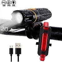 WINSUNY Luz de Bicicleta, Super Brillante Luces Bicicleta con Luz Trasera Roja USB Recargable Luz Delantera 450 LM, 6 Horas de Iluminación, IPX6 Impermeable, 6 Modos Luz de Ciclismo Linterna Antorcha
