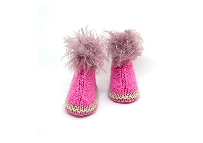 Botines rosados para bebés, Botines tejidos a mano, Zapatos de bebé, Botines para bebés, Botines hechos a mano, Botines de punto para niñas, Botines estilo ...