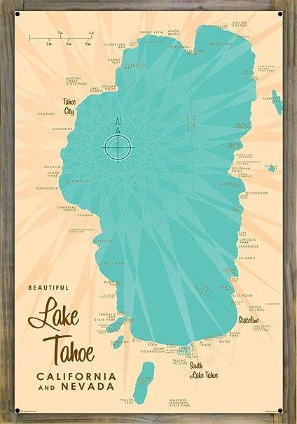 image about Printable Map of Lake Tahoe called : Lake Tahoe CA Nevada Basic-Layout Map Metallic