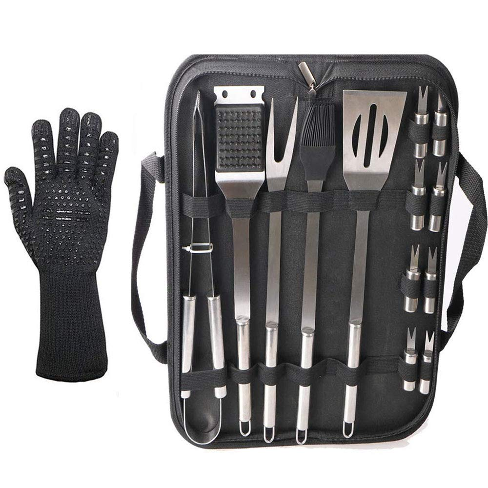 14pcs BBQ Tools Set with a Glove,Ausma Stainless Steel Barbecue Tool Kit with Carry Bag,Outdoor Camping Grill Utensils for Men Dad Birthday Gift