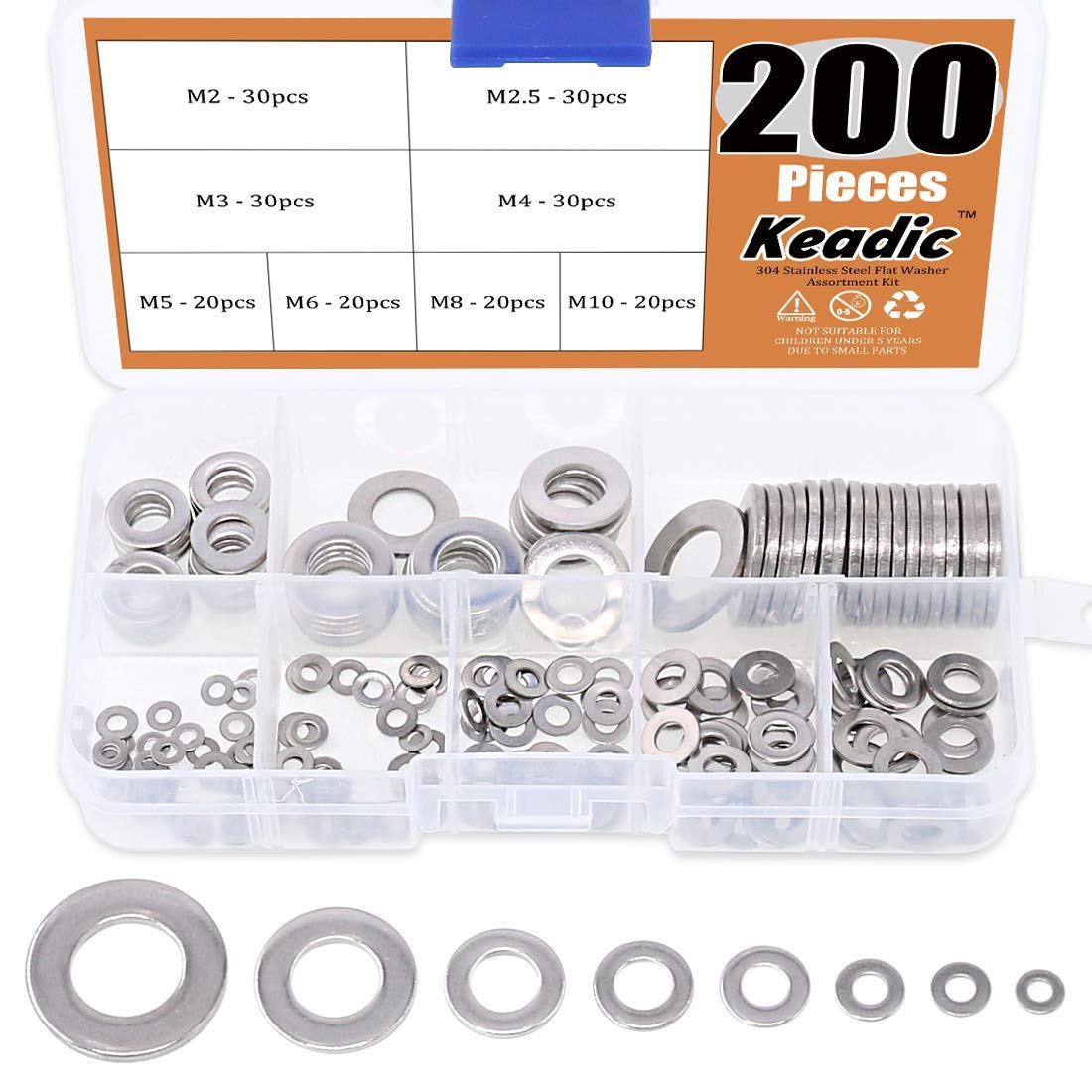Keadic 200Pcs 8 Size Metric 304 Stainless Steel Flat Washers Kit Flat Metal Small Gasket for Home Automotive Shop Use M2 M2.5 M3 M4 M5 M6 M8 M10