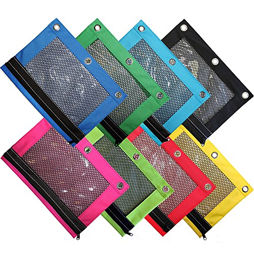 Omura Pencil Pouch, Mesh Windows, Zippered & Standard 3-Ring Binder ULTRA BRITE, Pack of 8 - Pack Case Ring