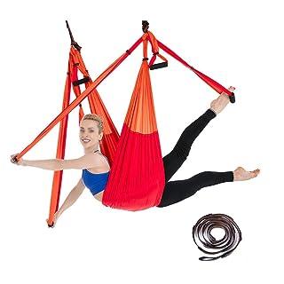 HUIFA Amaca Yoga Lady Aerea 6 Anelli con Cinturino Paracadute Cintura Elasticizzata Fitness Stretch N
