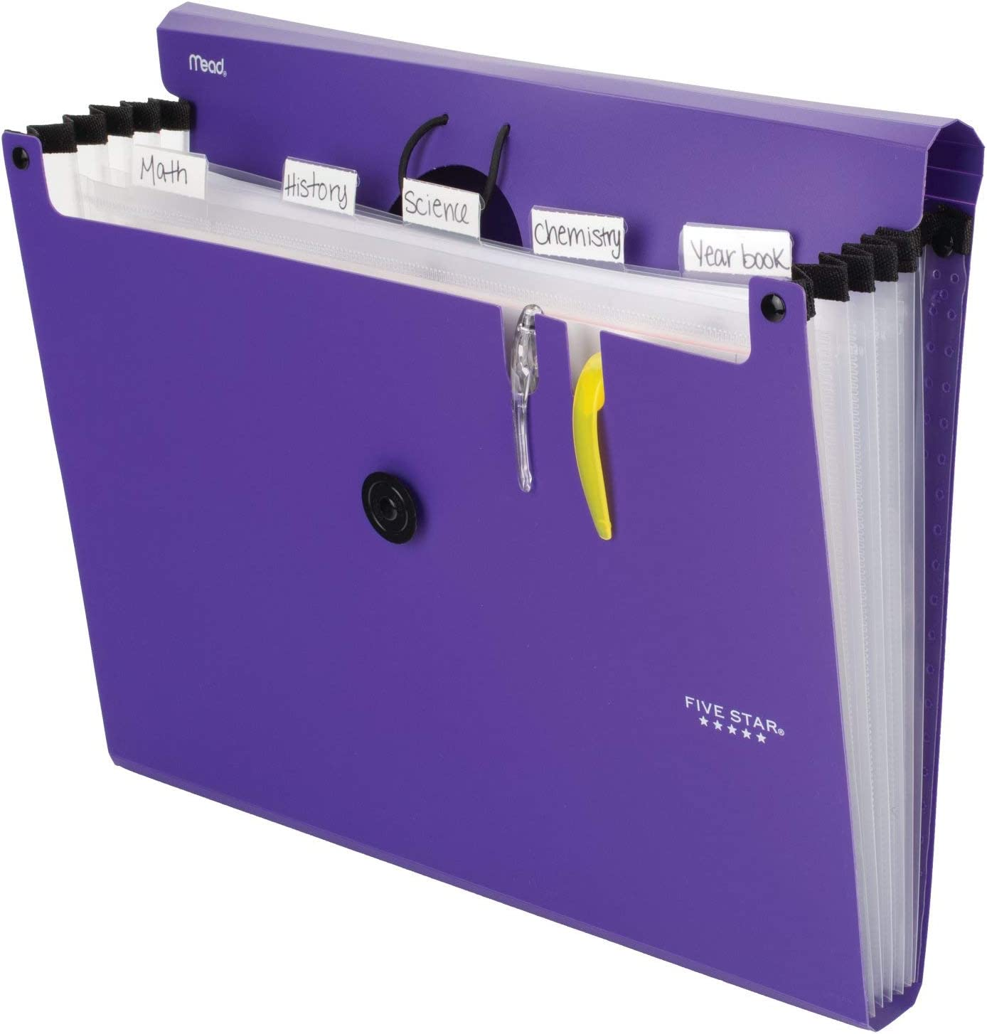 Five Star 6-Pocket Expanding File Organizer, Plastic Expandable Letter Size File Folders with Pockets, Home Office Supplies, Portable Paper Organizer for Receipts, Bills, Documents, Purple (72510) : Office Products