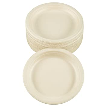 Benail 50 Pack 100% Compostable and Biodegradable Plate Made from Bamboo u0026 Sugar Cane Eco  sc 1 st  Amazon UK & Benail 50 Pack 100% Compostable and Biodegradable Plate Made from ...