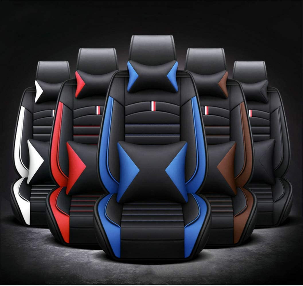 ANKIV Full Set Universal Fit 5 Seats Car Waterproof Pu Leather Front Rear Car Seat Cushion Cover with Headrest Waist Support Pillows for Sedan or SUV