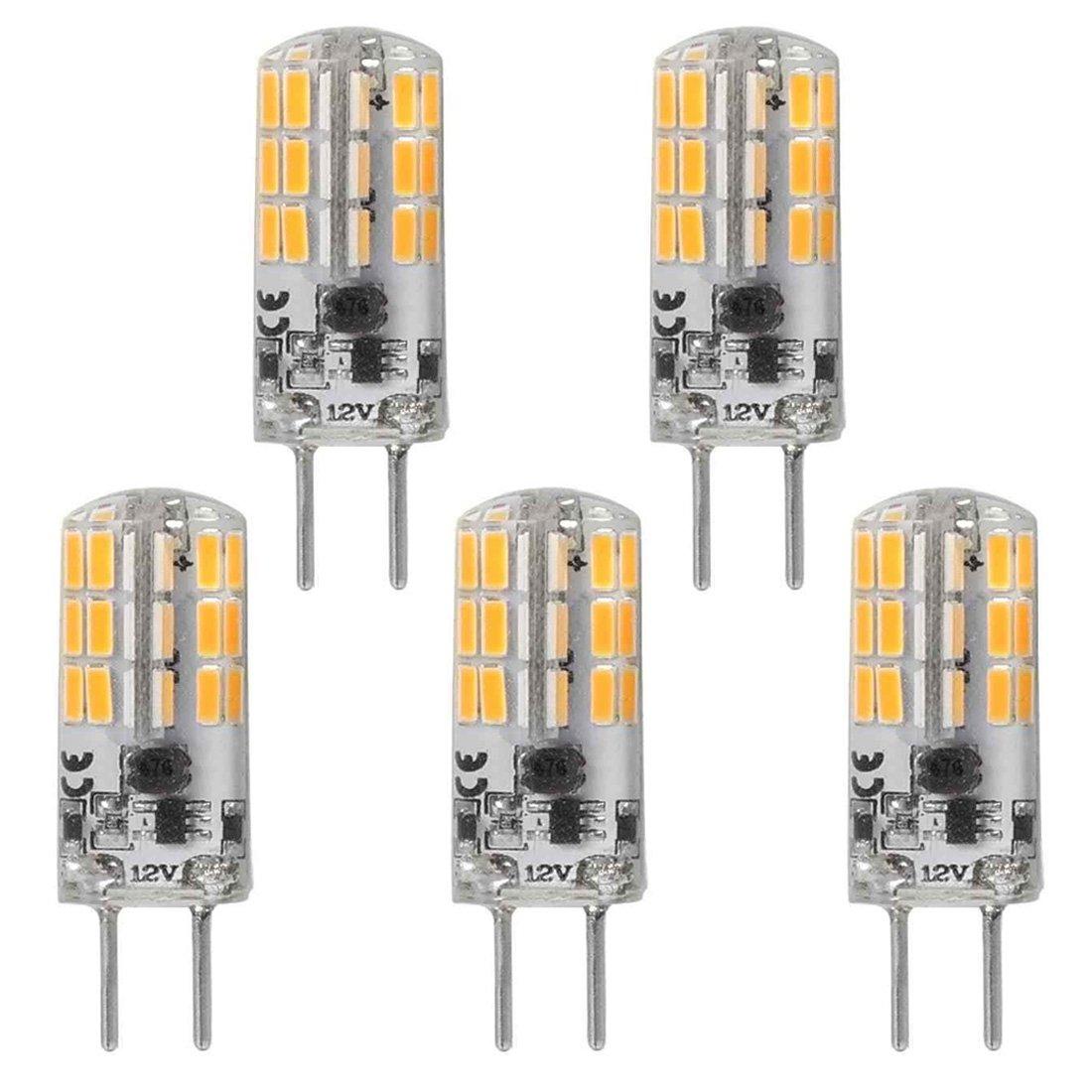 GY6.35 G6.35 Bi-pin Base LED Bulb 4Watt AC DC 12V Silica Gel Crystal Warm White 2700k-3000K Landscape Lighting,JC Type, Equivalent 25W- 30W Q35/CL/T4 Halogen Bulbs (5-Pack)