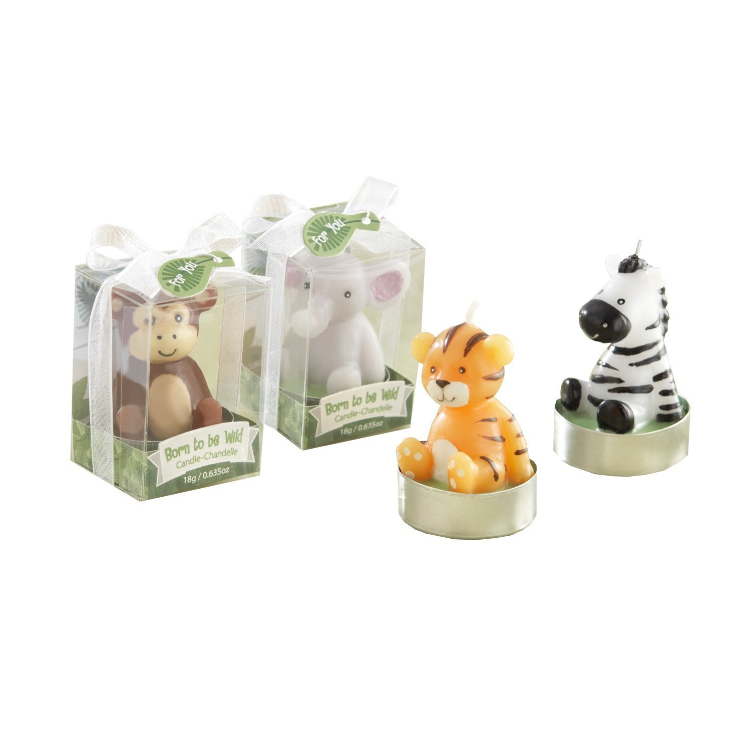 ''Born to be Wild'' Animal Candles (Set of 4 Assorted. 24 sets total)