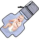 Aautoo Baby Portable Changing Pad Diaper Changing Station Built-in Head Cushion Velcro Tab Portable Travel Diapering Essentials Kits