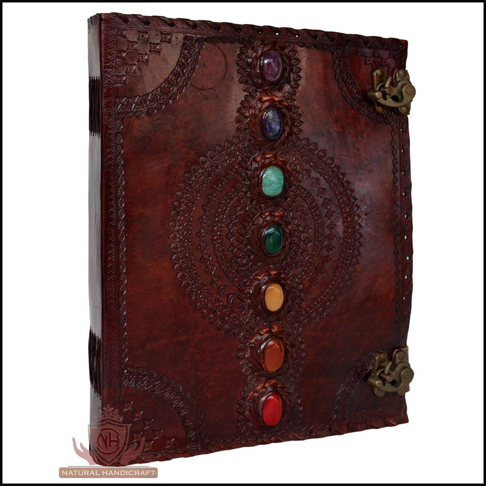 AOL Seven Chakra Medieval Stone Embossed Handmade Jumbo Leather Journal Book of Shadows Notebook Office Diary College Poetry Sketch 14 x 18 Inches
