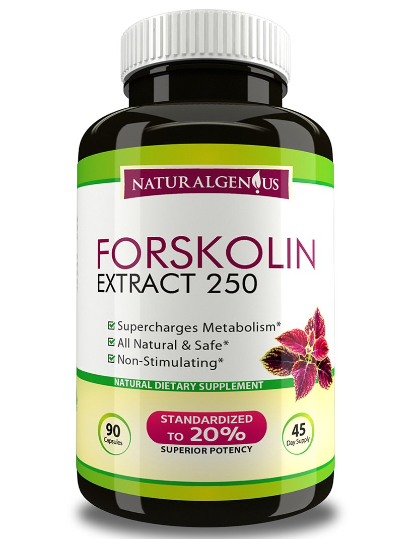 True 45-Day Supply - Fast & Natural Fat Burner - 100% Pure Forskolin 250mg -90 Caps of Top Grade Coleus Forskohlii Root Extract - 3rd Party Tested- 500mg/day- Weight Loss Supplement -by Natural Genius