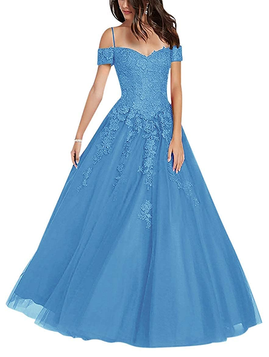 bluee NewFex Off Shoulder Prom Gown Tulle Applique Aline 2019 Formal Evening Dresses for Women