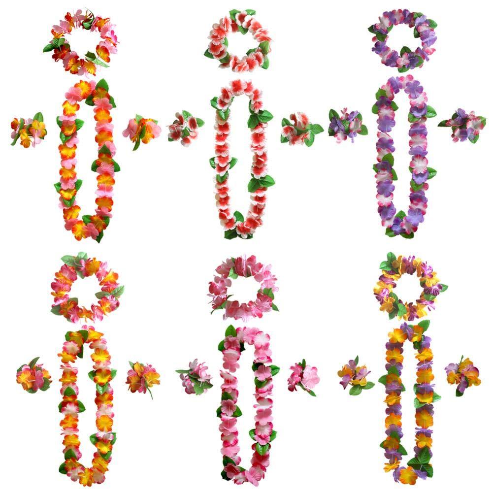 domiluoyoyo 24 Pcs Tropical Hawaïen Luau Leis Colliers en Vrac Guirlande Artificielle Bandeau Collier Fleur Bracelet Ensemble - Tiki Fleurs/Été Pool Party Fournitures Décorations Faveurs Ornements