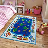 Cheap New Soft Kids Rugs For Boys and Girls Street Map Blue 5′ by 7′ Children Area Rug Trees Jungle for Playroom & Nursery, Large 5×7 Classroom Rug