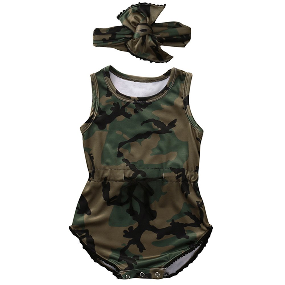 KIDSA 0-2T Infant Toddler Unisex Baby Boys Girls Summer Clothes One-piece Camo Romper Jumpsuit Outfits with Headband by KIDSA