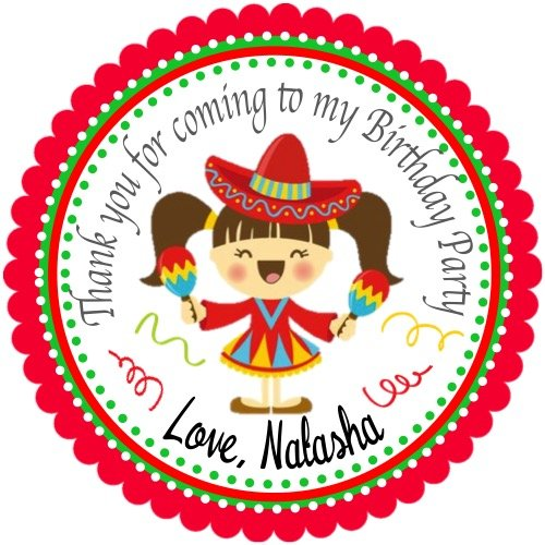 40 Mexican Fiesta Personalized Birthday Stickers 2