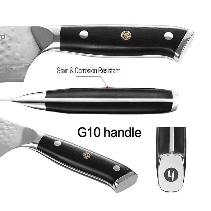 Cuchillos de cocina - TooSharp japonés AUS-10V Damasco 67 capas - Serie clásica H Gyutou - Tratado al vacio - Acabado martillado a mano - 20 cm - con ...
