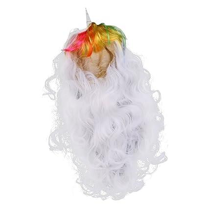 baoblaze Unicornio Cuerno pelucas con orejas pelo piezas larga rizado peluca para Halloween Fiesta Cosplay Disfraz