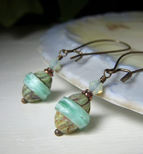 Vintage Peppermint Green Satin Glass Sterling Silver Drop Earrings