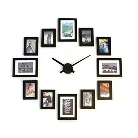 Homeloo Modern 12 Wood Wooden Photo Picture Frame DIY Wall Clock (Full  Black)