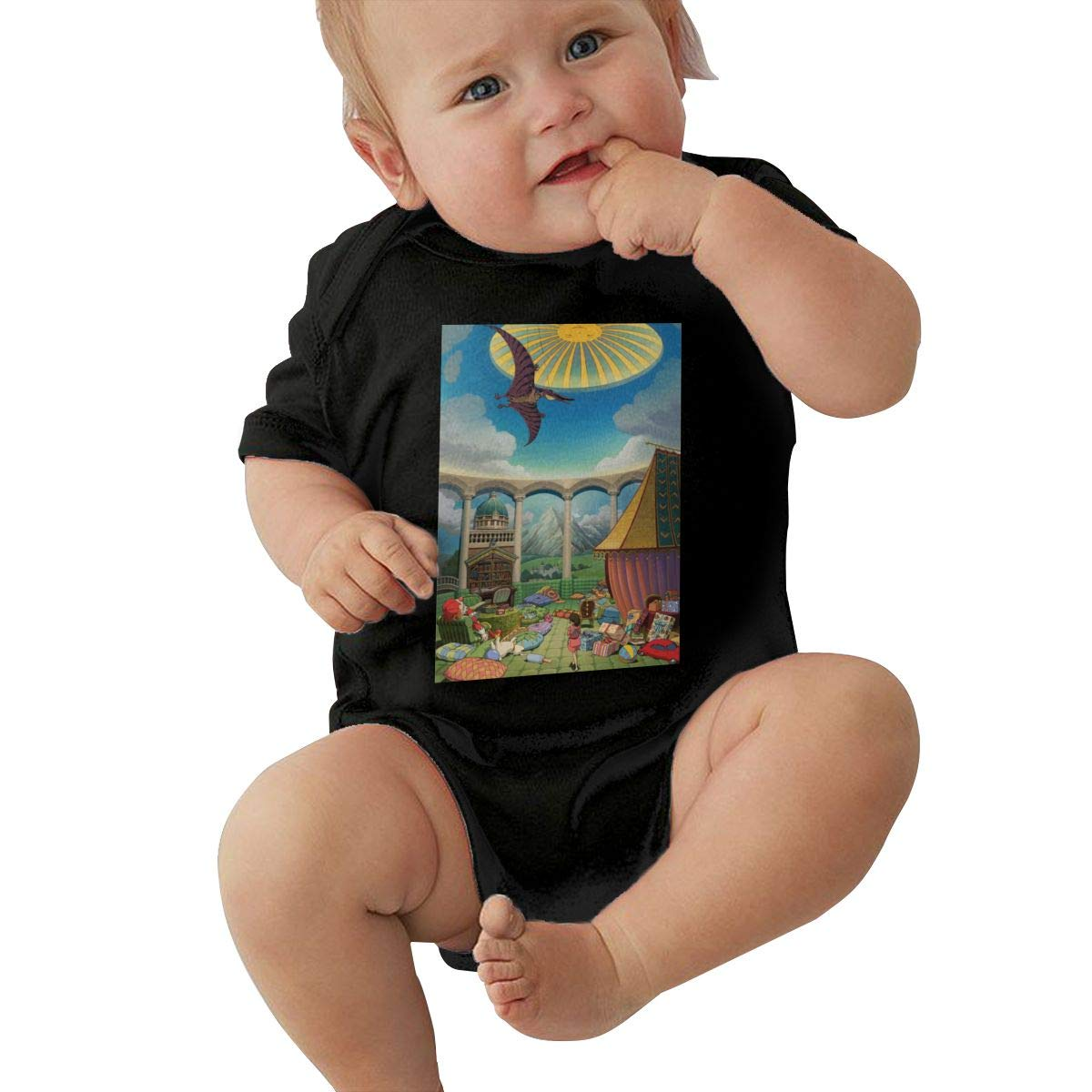 DUANIER Unisex Baby Crew Neck Short-Sleeve Climbing Clothes Spirited Away Funny Crawling Suit Black