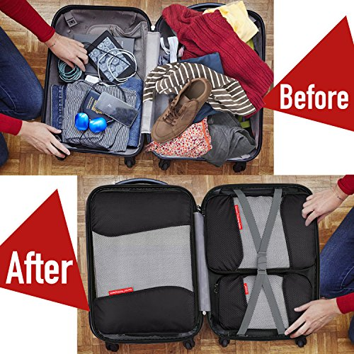 Travel Packing Cubes, Gonex Luggage Organizers 3 Medium+1 Small Black by Gonex (Image #4)