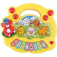 Achimer musikleksak baby leksak musikinstrument för baby pianotangentbord och hammare Tier-Keyboard 17,5 x 15 x 3 cm för…