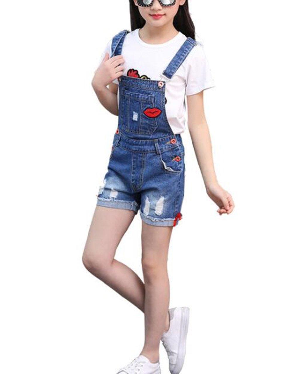 Big Girl's Denim Jumpsuit Boyfriend Jeans Cute Fashion Denim Romper Shortalls 9-10Years by Juakita Barpsa (Image #1)
